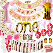 Lecip 1st Birthday Girl Decorations White Pink And Gold Party Supplies Set.