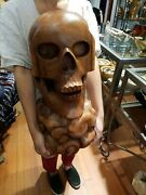 Skull Carved Wooden Sculpture Realistic Wood Carving Extra Large Display Art