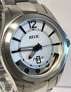 Relic Auto 23j White Dial/visible Rotor/silver Bracelet Mens Watch--vintage