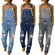Womens Ripped Denim Jumpsuit Rompers Playsuits Jeans Trousers Dungarees Overalls