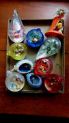 Vtg Christmas Xmastree Glass Ornaments Diorama Indents Bells Lot Of 10