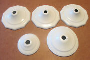 Lot Of 5 Stamped Brass Vase Caps - White Powdercoat Finish - See Details