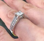 1 Carat Solitaire Round Diamond Engagement Ring 3 Row Pave Band 14k White Gold