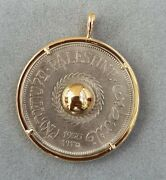 State Of Palestine 1935 20 Mils In 18k Yellow Gold Pendant By Motoni فلسطین