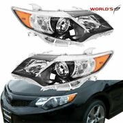 Left+right Black Headlights Lamps For 2012-2014 Toyota Camry Se Style Projector