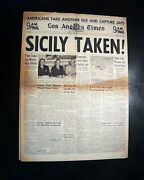 Allied Invasion Of Sicily Italy Ends Messina Falls 1943 World War Ii Newspaper