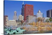 Buckingham Fountain In Grant Park With Canvas Wall Art Print Chicago Home Decor