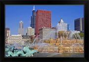 Buckingham Fountain In Grant Park With Black Framed Wall Art Print Chicago Home