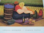 Art Poster Print Lithograph Lowell Herrero Picnic Orchid Tree Fields Wine Couple