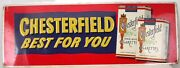Vintage Original Metal Chesterfield Cigarettes Embossed Tin Grocery Store Sign