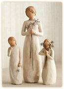 Willow Tree Figurines Set Mother With Two Daughters In Individual Boxes