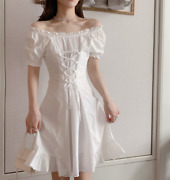 White Vintage New Design Short Dresses Womens Summer Dress Party French Style Sz