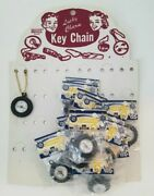 Vintage Lucky Charm Set Of 36 Compass Key Chains On Store Display Card Toy Nos