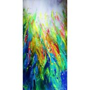 Vertical Tall Abstract Extra Large 72x36 Canvas Tropical Colorful Blue Red Green