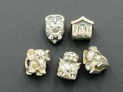 Pandora Sterling Silver 925 Chick, Elephant, Owl, Doghouse, Rabbit Beads Charms