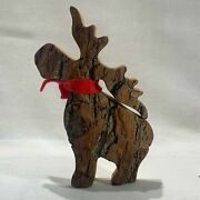 Handcrafted Carved Wood Bark Large Standing Moose W/scarf 5.5 X 7.5