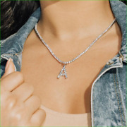 25ct Round Cut Diamond Pretty A Initial Tennis Necklace 14k White Gold Finish