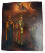Rare Antique 19th C Russian Wooden Icon Of St.anna St.nicetas And St.anthisa