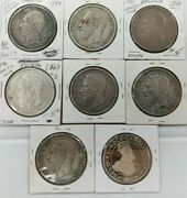 Lot Of 8 Silver Coin Belgium Leopold Ii Roi Des Belges 5 F Silver Coin I985
