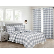 Twin Queen Or King Buffalo Plaid Comforter Bedding Set Or Window Curtains Grey