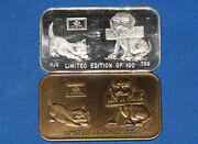 1976 Trg Letand039s Be Friends Zeiser-9 Silver And Bronze Matched Art Bar Set Zm9 B6114