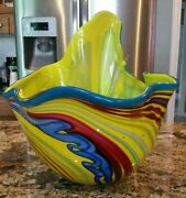 Rollin Karg Signed And Dated 2006 Hand Blown Art Glass Large Bowl Sculpture