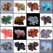 50mm Hand Carved Gemstone Elephant Statue Figurine Collectible Decor 2