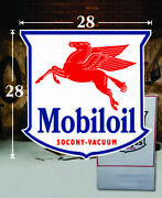 1 28 X 28 Mobiloil Shield Gas Vinyl Decal Lubester Oil Pump Can Lubster