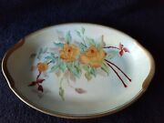 Antique Warwick Pottery Platter Hand Painted Gold Trim Signed