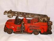 Electro Fire Truck Battery Operated Tin Litho T.n. Nomura Japan Toy Car