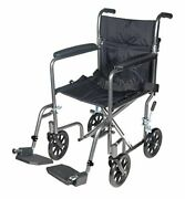 Drive Transport Wheelchair Lightweight Steel W/ Fixed Full Arms And Folds Up