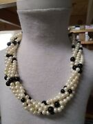 Vintage Costume Jewelry Multi-strand Twist Pearl And Black Bead Choker Necklace