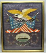 Antique Japanese Painting On Silk Of Patriotic American Coat Of Arms C. 1939