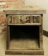 Reclaimed Barn Wood Bretton Style Night Stand Durable Rustic Drawer Open Rugged