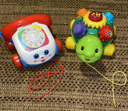 Fisher Price Pull Along Telephone/ Vtech Roll And Slearn Turtle - B8