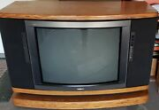 Sony Vintage Rare1980and039s Trinitron Television Crt Tv Console Solid Oak Wood.