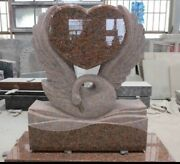 Cemetery Usage American Style Red Granite Swan Statute Heart Shaped Monument