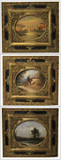 Lot Of Three Painted Oil Painting On Board / Xix-xx Century Landscapes Italian