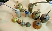 Vintage Oil Metal Can Oiler Pump Thumb 11 Different Collection Lot Original Cnd