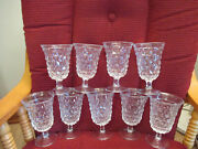 9 Fostoria American Low Water Goblets 5-1/2 Tall Glasses Cube Design