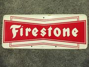 Vintage Firestone Tire Sign Oil And Gas Station Metal Adv Sign Large Bow Tie Mca