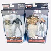 Marvel Legends Spider-man Stealth Suit And Spider-woman From Molten Man Baf New