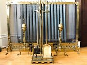 Antique Brass Fireplace Screen With Andirons And Tools