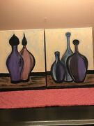 A Set Of 2 Acrylic Paintings. Bottles In Colors Of Blue,gold And Purple.