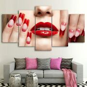 Sexy Girl Red Lips Nail Salon 5 Piece Canvas Wall Art Poster Print Home Decor