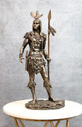 Large Native American Indian 3 Feathers Eagle Warrior With Spear Statue 18.5h