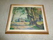1900's Impressionist Oil Painting House Cottage Ocean Sail Boats Large Green Tre