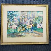 Vintage Watercolor Painting Reducing The Grocery Bill By Marian E Gregory