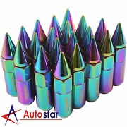 20pcs Neo Chrome Cap Spiked Extended Tuner Aluminum M12x1.5 60mm Wheel Lug Nuts