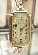 And03924 Rolex Prima Swiss Antique Vintage Art Deco Solid Gold Watch And Band Serviced